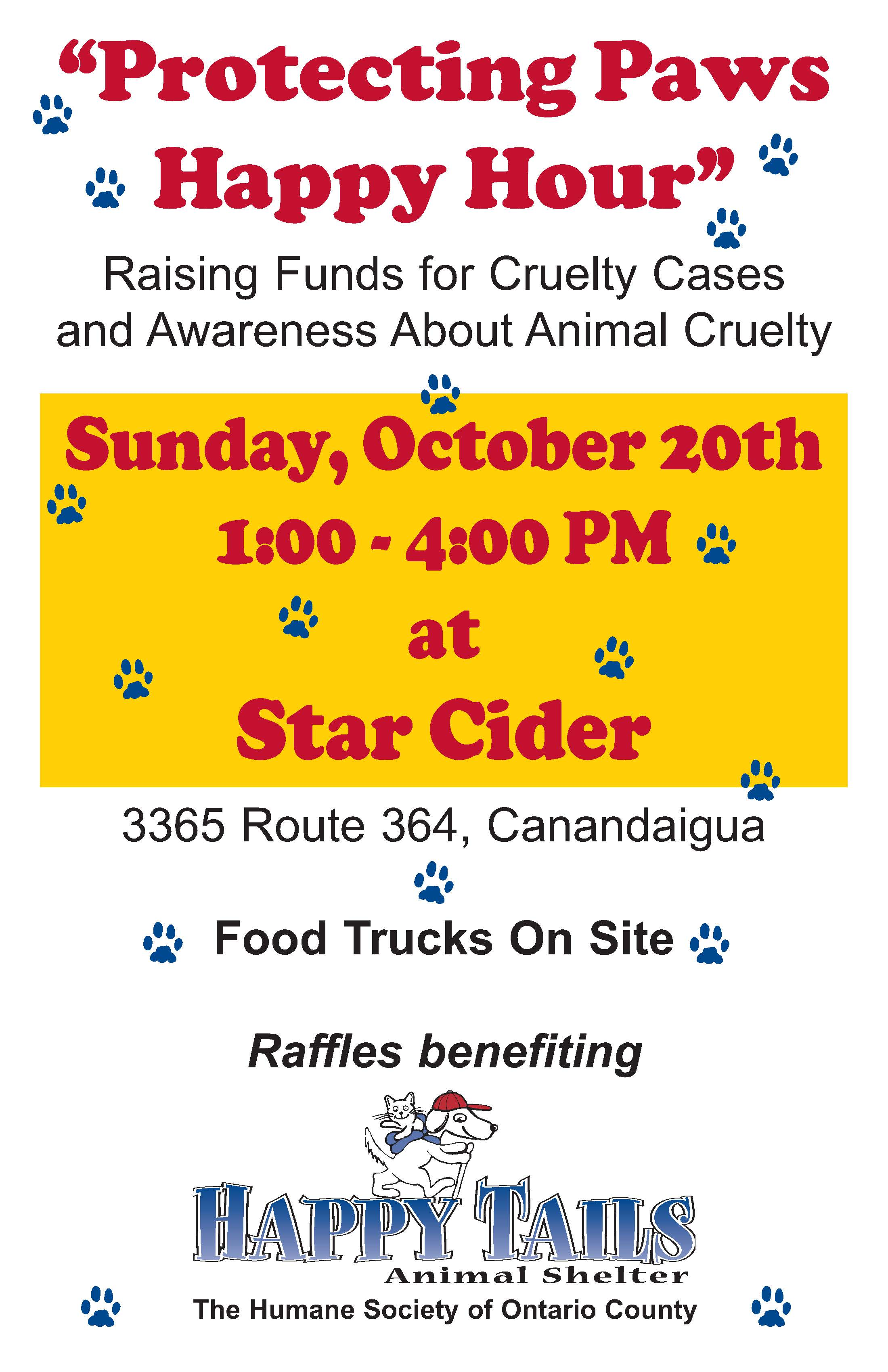 Protecting Paws Happy Hour Oct, 20 2019 Raising funds for cruelty cases and awarness about animal cruelty. At the Star Cider in Canandaiguia.
