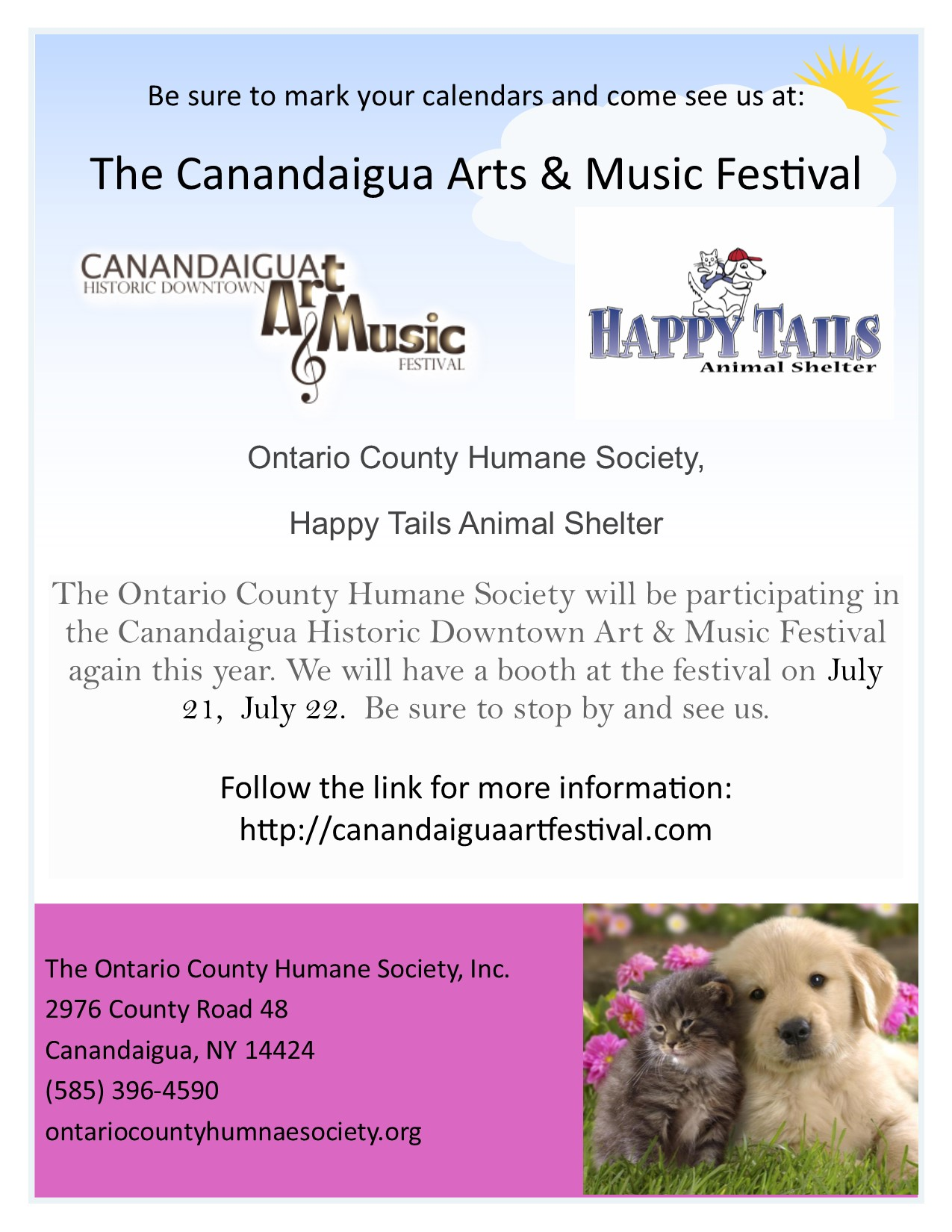 Canandaigua Arts and Music festival July 21 and 22.
