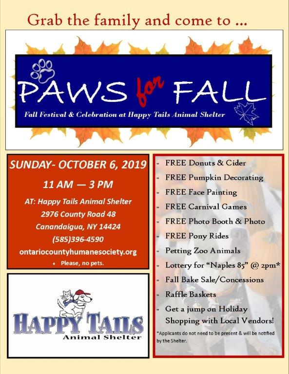 Paws for Fall Oct, 6 2019 to benefit the Ontario County Humane Society, Free events, bake sale, petting zoo and more. At Happy Tails Animal Shelter Canandaiguia NY